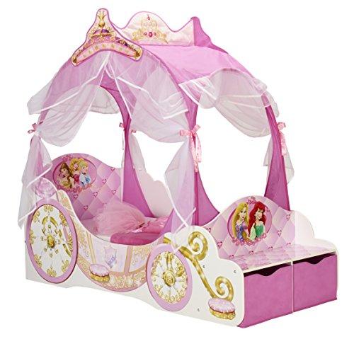 *Kleinkinderbett für Mädchen im Kutschendesign von Disney Prinzessin, mit Baldachin*