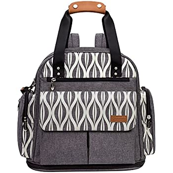 Lekebaby Baby Nappy Bag Backpack with Changing Mat Unisex for Mom and Dad, Grey
