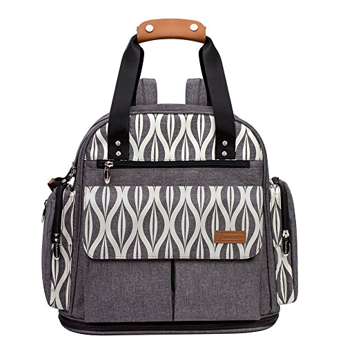 Lekebaby Messenger Nappy Changing Bag with Changing Pad and Stroller Straps, Grey