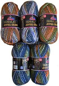 5 x 100 G himalaya joyfull colors laine blaugelb 80204 couleurs