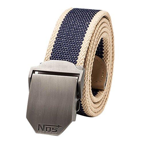 VANKER Nuevo Pretina de las correas de lona hebilla automática cinturón de cintura para hombres mujeres -- Azul marino a