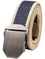 VANKER Nuevo Pretina de las correas de lona hebilla automática cinturón de cintura para hombres mujeres -- Azul marino a rayas