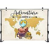 World Map Travel Photo Backdrop Globe Adventure Child Baby Birthday Party Photography Background 7x5ft
