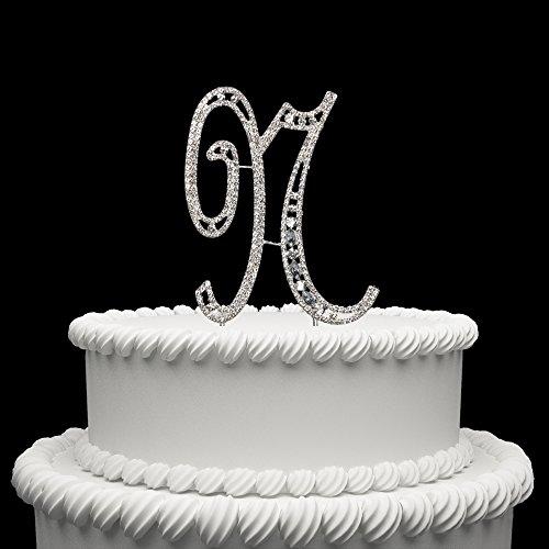 ss Kristall Monogramm Buchstabe Alphabet Kuchen Topper Für Hochzeit Geburtstag Party Dekoration 1Stück N Silber ()