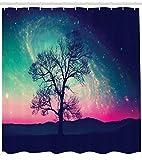 ABAKUHAUS Galaxie Rideau de Douche, Étoiles vibrantes Espace Magique Fantastique Arbre Solitaire Aurore boréale, Couleurs Vives sur Le Tissu, 175 X 200 cm, Bleu foncé