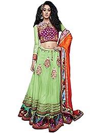 Manish Creation Women's Net A-Line Embroidered Wedding Wear Lehenga (Bluebell-Fabcare-802_Light Green_Free Size)