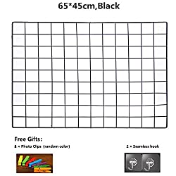 ShouYu DIY Grid Photo Wall,Multifunction Wall Mounted Ins Mesh Display Panel,Wall Art Display Organizer,Memo Board(65*45cm,Black)