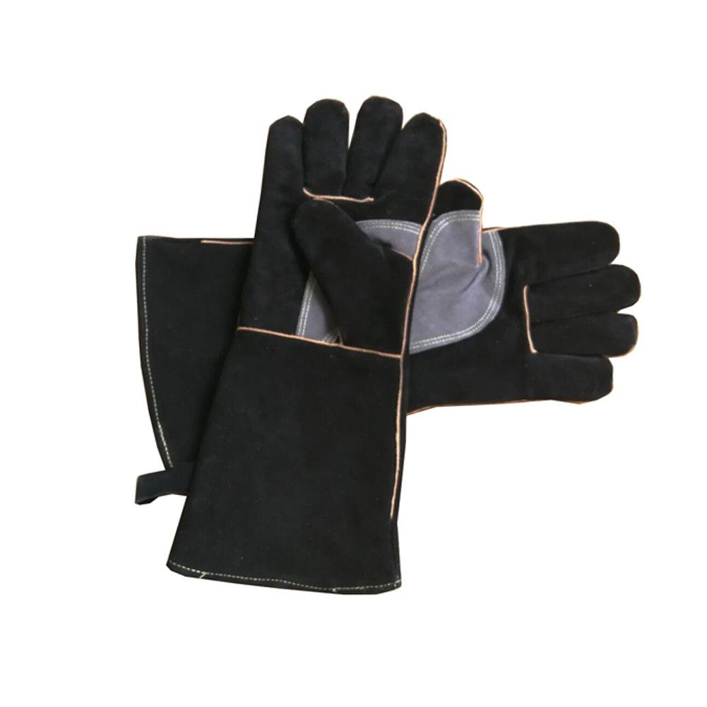 Guantes de piel resistentes al fuego con costuras de Kevlar, ideales para chimenea, estufa, horno, parrilla, soldadura, barbacoa, cerdo, soporte para olla, manipulación de animales, color negro y gris