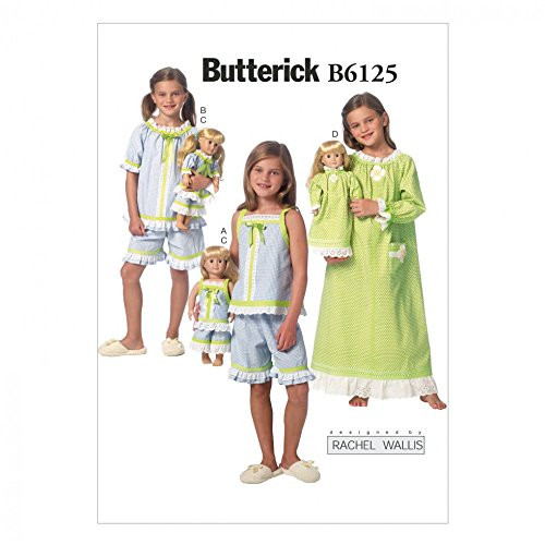 Butterick Mädchen & Puppen leicht Schnittmuster 6125,-Schlafanzug & Nachthemd (Und Puppe Mädchen Nachthemd)