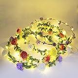 evmu 4Pack LED iluminado flor corona cinta Corona Guirnalda Flores Bohemia. Para fijo boda playa partei ankleiden