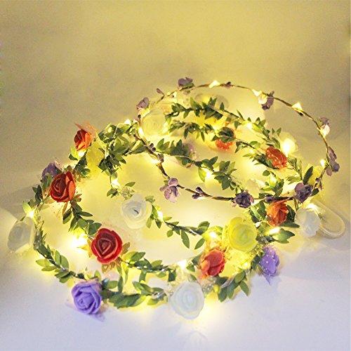 Preisvergleich Produktbild eVmu 4 Pack LED Beleuchtet Blume Kranz Stirnband Krone Girlande Blumen Böhmen für Fest Hochzeit Strand Partei Ankleiden