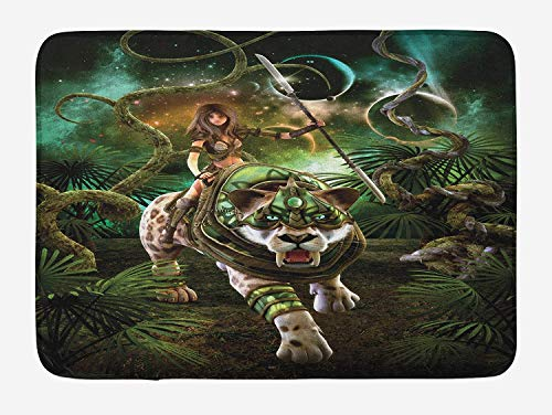 ARTOPB Fantasy World Bath Mat, Graphics of Fantasy Scene with Girl and Saber-Tooth Tiger Magical Plants Galaxy, Plush Bathroom Decor Mat with Non Slip Backing, 23.6 W X 15.7 W Inches, Green