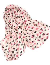 Demarkt Fashoin Pink Foulard Echarpe Imprimé de Coeur -160*55CM Chiffon Soie pour Femme