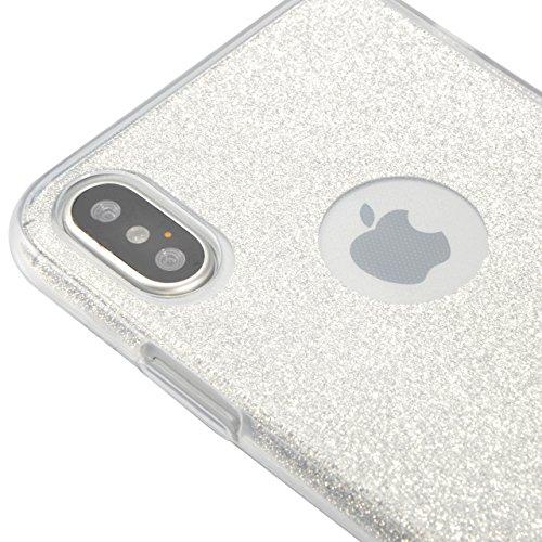 Coque iPhone X Gel 360 Protection INTEGRAL Silicone Case, Sunroyal Transparent Etui TPU Coque 360 Degres Anti Choc , 3 en 1 Etui Ultra Mince Coque rigide+border Souple en Silicone avec Bling Cristal P Argent