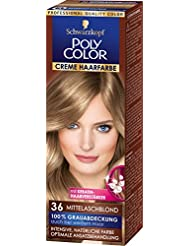 Poly Color Creme Haarfarbe Coloration 36 Mittelaschblond  Stufe 3, 3er Pack (3 x 83 ml)