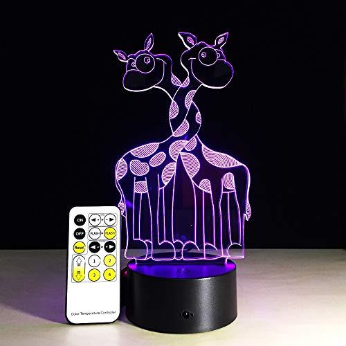 Creativo simpatico giraffa animale luce notturna visiva colorato telecomando o tocco lampada da tavolo regalo di decorazione festa di compleanno di Nat