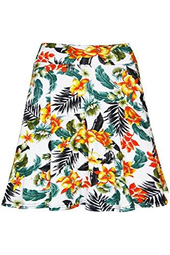 Imprimé Floral dété pour femme Coupe stretch Taille haute Swing Mini-jupe Patineuse - Floral Cream Orange