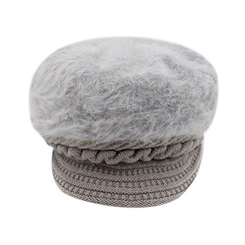 Zhuhaitf Damen Wool Thick Strickmütze Baskenmützen Barette Winter Hut Snow Ski Caps With Visor für Womens (Hut Brim Full)