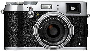 Fujifilm X100T Appareil compact numérique Pro Wifi à Objectif Fixe 35mm F2, 16 Mpix X-Trans II (APS-C)  Viseur Hybride (OVF et EVF) avec Télémètre Électronique AF Détection de Phase Argent