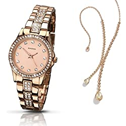 Sekonda Starfall Rose Gold Plated Stainless Steel Bracelet Ladies Watch 2034 + Free Pendant Gift