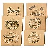 24 Pack Brown Kraftpapier Dankeskarten Danke U Grußkarte W / 24 Kraftpapier Umschläge und 24 Stück Umschlag Danke Aufkleber für Hochzeit, Schulabschluss, Baby-Dusche, Jahrestag,15X10cm/5.9X4.0IN