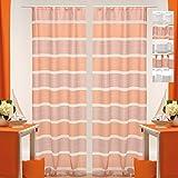 Dekoschal Daisy Halbtransparent 2er Pack Auswahl: Universalband 140x 245cm Orange - Rost, Gardine Vorhang
