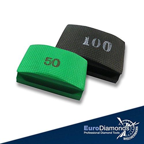 Das Original Diamant-Handschleifpad, Schleifschwamm Spar Set 2-tlg. Körnung 50, 100, für Marmor, Glas, Kunststein, Granit, Naturstein, Keramik