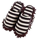 Pormow, 1 paio di pantofole multifunzionali per la pulizia della casa e del pavimento con suola in microfibra., Ciniglia, marrone, taglia unica