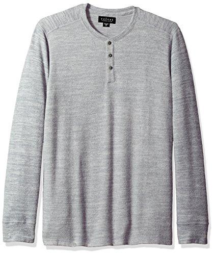 Herren-utility V-neck Top (Velvet by Graham & Spencer Herren Men's Faust Marled Henley Shirt, grau meliert, Klein)