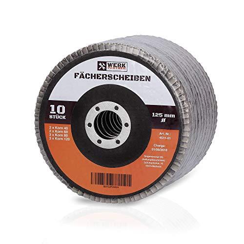 Premium Fächerscheiben - Werk-Partner Fächerschleifscheiben Ø 125 mm - 10 Stück mit Körnung 40/60/80/120 - für Metall Stahl Holz