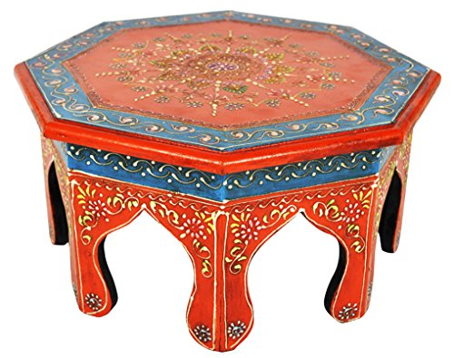 Lalhaveli Décoration Indienne Meenakari Travail Design Bois Bjaot Table 30 x 30 x 15 Cm
