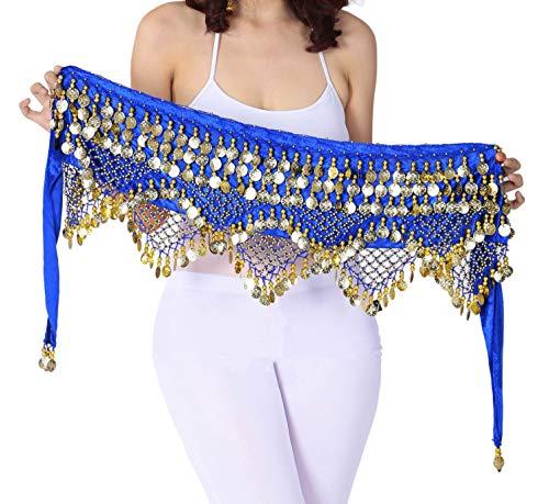 Damen Hüftschal für Bauchtanz mit Goldmünzen - Blau - L/XL (Belly Halloween-kostüm Blue Dancer)