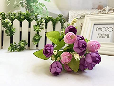 15 têtes/Bouquet Rose artificielle fleur en soie Faux, Ysber 1 * 5 Bunch Perle Fleur Émulation Fleur Bouton de rose Perle étoiles Petit Thé Fleurs Bouquet de mariage Garden Party Home Decor(Violet)