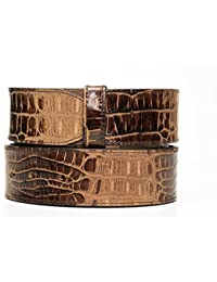 VaModa Ceinture en cuir, empreinte crocodile Haydock, couleur marron, sans boucle