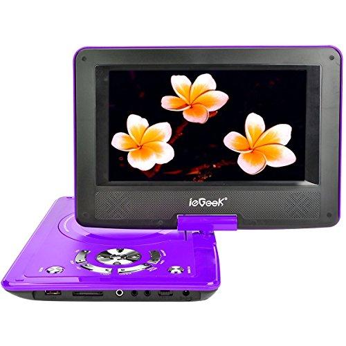 ieGeek Lettore DVD Portatile Display 9 Pollici regolabile, 5 ore Batteria ricaricabile, supporto schedeSD e pennette USB, avvio diretto di MP4/AVI/RMVB/MP3/JPEG, Viola