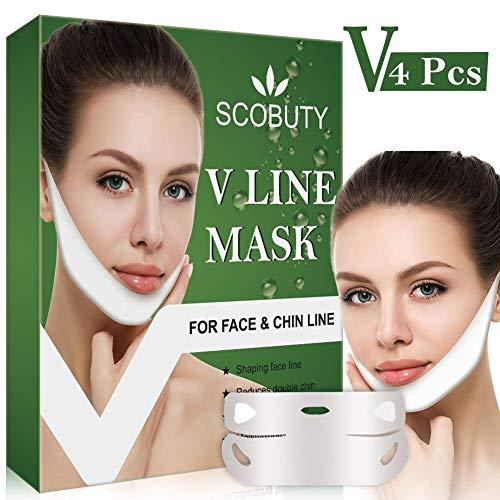 V Gesichtsmasken V Sculpt Maske V Förmige Slimming Maske Miracle V-Shaped Slimming Mask V-Linie Face Chin up Lift für Anti Falten Kinnlifting Gesichtsformung Straffung Feuchtigkeitsspendende 4 Stück -