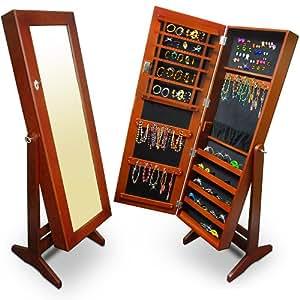 Armoire de rangement pour bijoux avec miroir marron 146 cm: Amazon.fr: Cuisine & Maison