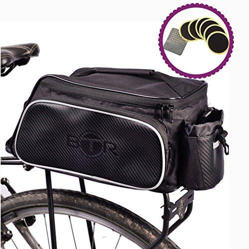 BTR Fahrradtasche für den Gepäckträger. Wasserabweisend. Schwarz. 10 Liter Fassungsvermögen. Gepäckträgertasche mit Vorrichtung zur sicheren Befestigung des Fahrrad-Rücklichts Jetzt mit BTR Reparatur-Set fürs Fahrrad zur Abdichtung von Reifen, selbstklebende Flicken (6er Pack)