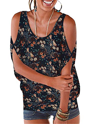 ranphee maglietta donna elegante estivo loose t-shirt bluse spalle scoperte maniche a pipistrello camicie (navy pattern, m)