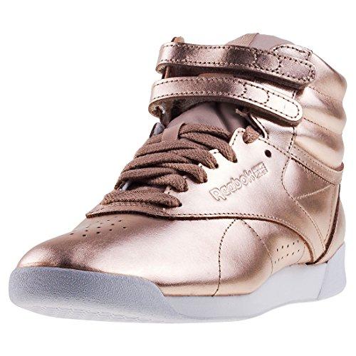 Reebok Damen Freestyle Hi Metallic Gymnastikschuhe, Gold (Rose Goldwhitesilver Peony), 42 EU (Große Reebok Hohe)