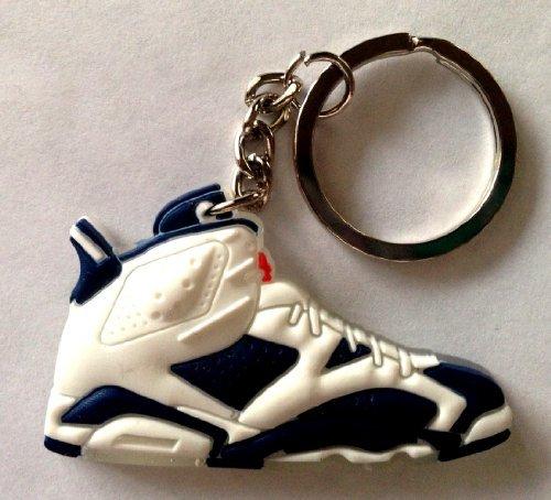 Air Jordan 6/VI Olympic Navy Blue/White Chicago Bulls Sneakers Shoes Keychain Keyring AJ 23 Retro by Fat Garage