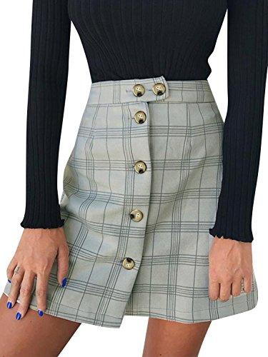 Terryfy Damen Minirock Elegant Kurz Kariert High Waist Sommer Rock Skirt Streetwear Grau