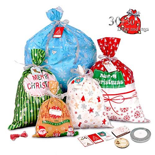 Lot de 30 grands sacs cadeaux de Noël avec étiquette et...