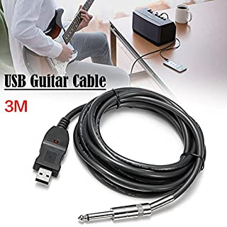 Favourall USB/6.3mm USB A 6.3mm Black Cable Interface/Gender Adapter–Link Connection PC Instrument Cable Interface/Gender Adapter 3m