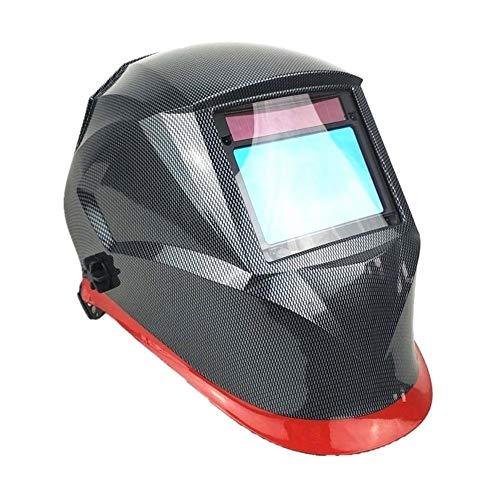 Schweißhelm 100 * 65mm 1111 4 Sensoren Schleifen DIN 3/4-13 MMA MIG/MAG WIG CE/UL/CSA/AS Zertifikat Solar Auto Verdunkelung Schweißmaske (Color : Carbon Red) - X-schwer Entflammbar Carbon