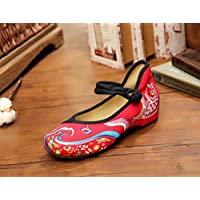 shengshiyujia ZLL Embroidered shoes,carp,linen,tendon sole,ethnic style,female,fashion,comfortable,dancing shoes, red black, 37