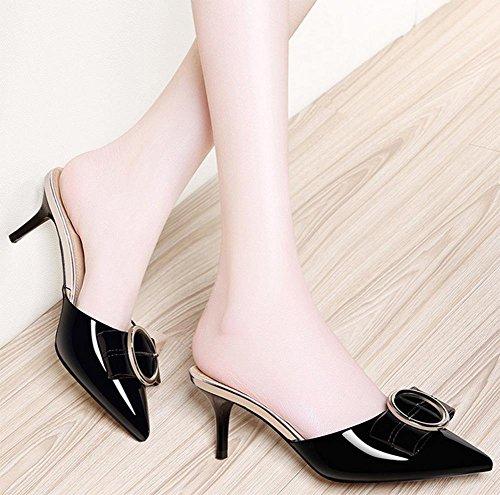 Frau Sommer Bogen spitz hochhackigen Pantoffeln Frauen Baotou Sandalen fein mit Schuhen der Frauen Sandalen Black