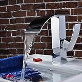 Robinet d'évier cascade Charmingwater contemporain en laiton chromé mitigeur de salle de bains