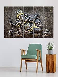 999STORE Lord Ganesha Wall Art Panels Hanging Paintings Set of 5 Frames (Yellow, 130 X 76 cm)