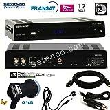 SIRIUS HD SERVIMAT Démodulateur satellite + carte Fransat + Déport IR + Cable HDMI + Cordon 12V + LNB Single Best 0,1dB HG101